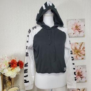 Pink victoria's secret crop hoodie size S
